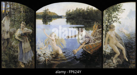 Akseli Gallen-Kallela - Aino Myth, Triptych - Stock Photo