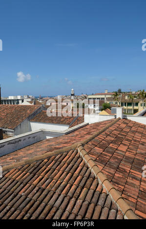 Rooftop view over Ponta Delgada. São Miguel Island. Azores. Portugal - Stock Photo