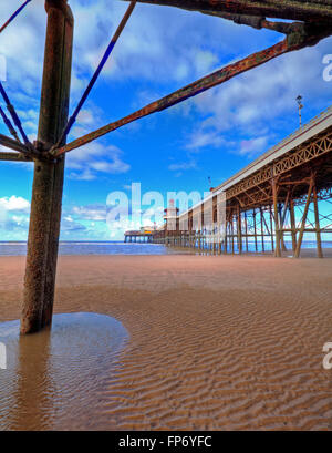A view along Blackpool's North Pier from the southerly wing. - Stock Photo