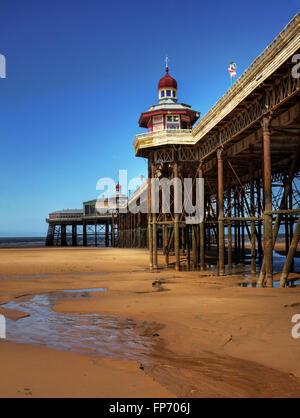 Beside the seaside: alongside Blackpool's North Pier - Stock Photo