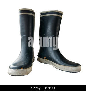 Black Rubber Or Wellington Boots On A White Background - Stock Photo