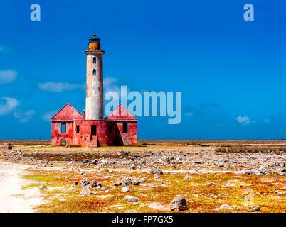Abandoned lighthouse on Klein Curacao - Stock Photo