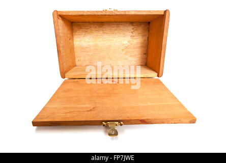 Empty Wooden Box Lying With Lid Open Toward Viewer - Stock Photo
