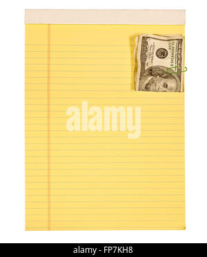 Legal Pad With Crumpled Hundred Dollar Bill Attached - Stock Photo