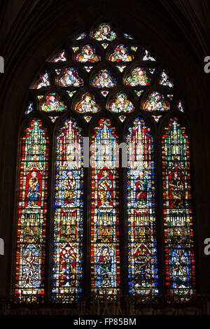 Stained Glass window in the Lady Chapel. Wells Cathedral. Somerset, England - Stock Photo