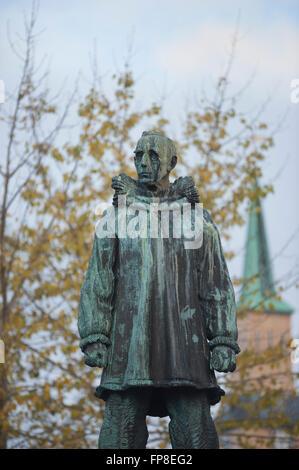 Roald Amundsen statue in Tromso. Norway - Stock Photo