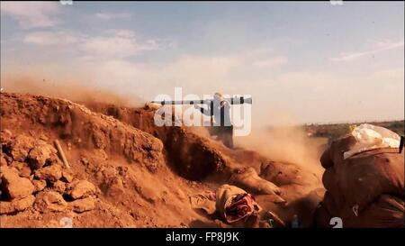 An ISIS propaganda video showing Islamic State militants during battles along the border of Iraq and Syria in an - Stock Photo
