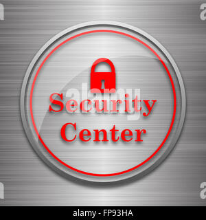 Security center icon. Internet button on metallic background. - Stock Photo