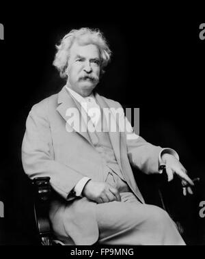 Mark Twain. Portrait of the American writer Samuel Langhorne Clemens, by A F Bradley, 1907 - Stock Photo