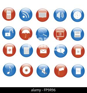 Various blue and red web icons on buttons. - Stock Photo