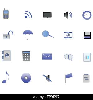 Various blue web icons on a white background. - Stock Photo