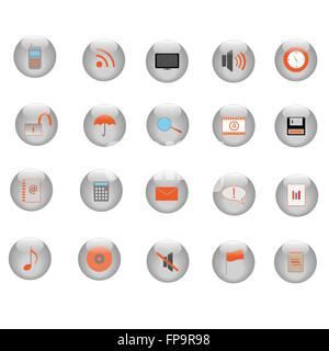 Image of various icons on silver buttons. - Stock Photo