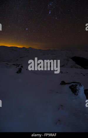 An Arnisdale winter landscape at night, Glenelg, Scotland - Stock Photo