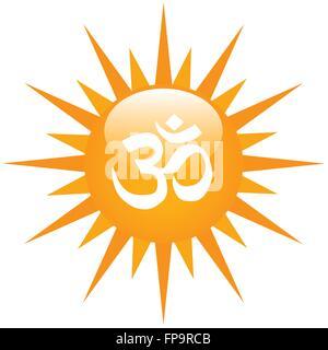 Vector Om Aum Symbol On A Sun - Stock Photo