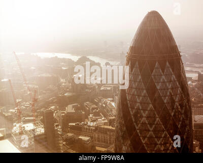 London: The Gherkin Swiss Re Building from above - Stock Photo