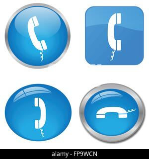 Image of various colorful blue phone web icons isolated on a white background. - Stock Photo