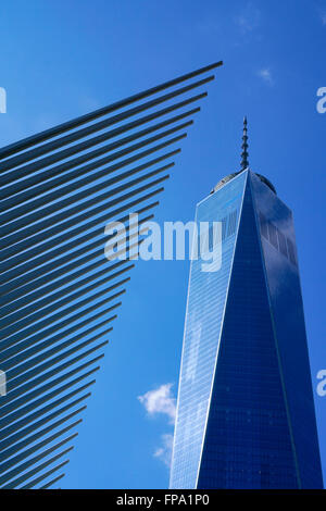Oculus with Freedom Tower aka One World Trade Center, Manhattan, New York City, USA - Stock Photo