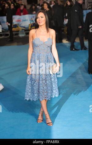London, UK. 17th March 2016. Linzi Stoppard attends 'Eddie The Eagle' film premiere in London. Credit:  London pix/Alamy - Stock Photo