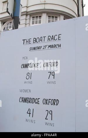 Putney London,UK. 18th March 2016. The winning records for mens and women's rowing are shown on a board outside - Stock Photo