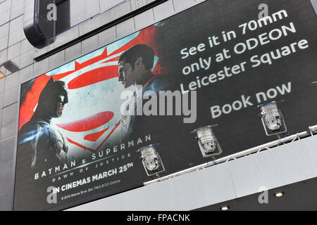 Leicester Square, London, UK. 18th March 2016. Batman v Superman film which is released next Friday is to be shown - Stock Photo