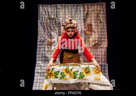 London, UK. 18th March, 2016. 'Eastern European For Dummies' migrant satire play performed at Rich Mix by There - Stock Photo