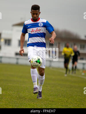 London , UK. 18th March, 2016. Joe N'Guessan running with the football during QPR's under 21s match agisted Watford - Stock Photo