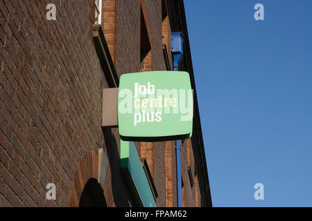 Job centre plus sign on building - Stock Photo