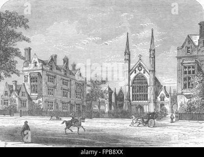 LONDON: Regent's Park: St Katharine's Hospital, antique print 1880 - Stock Photo
