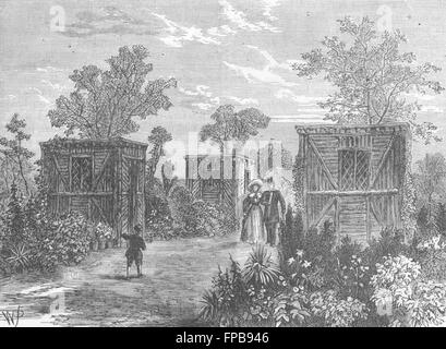 LONDON: Regent's Park: Entry to zoo in 1840, antique print 1880 - Stock Photo