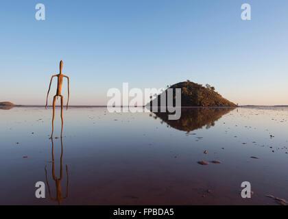 Sculpture by Antony Gormley 'Inside Australia' Art Installation at Sunrise, Lake Ballard, Western Australia, WA, - Stock Photo