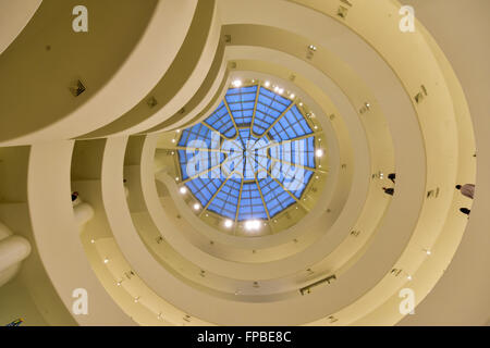 New York City - January 31, 2016: Interior of the famous Solomon R. Guggenheim Museum of modern and contemporary - Stock Photo