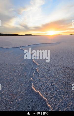 Sunrise over Lake Gairdner, South Australia, SA, Australia - Stock Photo