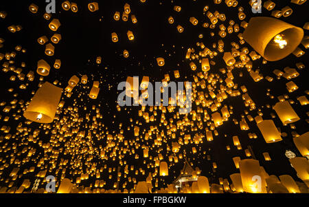 Loi Krathong and Yi Peng Festival, Chiang Mai, Thailand - Stock Photo
