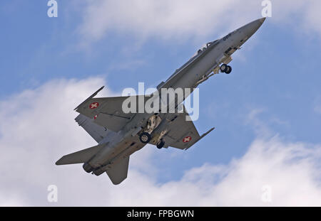 Swiss Air Force F/A-18C Hornet J-5005 lifting the gear - Stock Photo