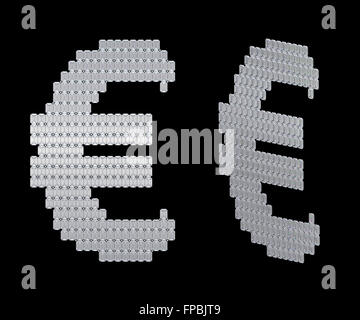 US dollar symbol assembled of diamonds. Over black. Extralarge resolution. Other gems are in my portfolio - Stock Photo