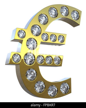 Golden 3D Euro symbol incrusted with diamonds isolated over white. Extralarge resolution. Other gems are in my portfolio. - Stock Photo