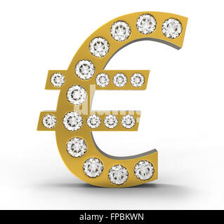 Golden CG Euro symbol incrusted with diamonds isolated over white. Extralarge resolution. Other gems are in my portfolio. - Stock Photo