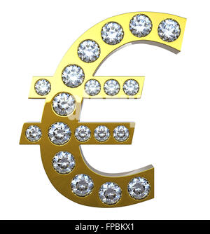 Golden 3D Euro currency symbol incrusted with diamonds isolated over white. Extralarge resolution. Other gems are - Stock Photo