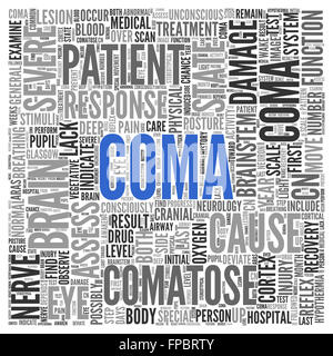 Close up COMA Text at the Center of Word Tag Cloud on White Background. - Stock Photo