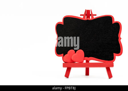 Red frame wooden easel mini blackboard with chalkboard surface ...