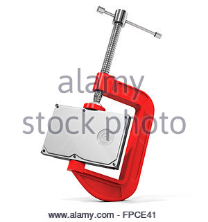3d hard disk drive in vise, data compression concept - Stock Photo