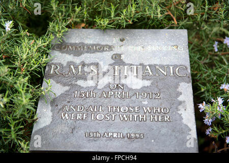 Wet Stone Commemorative Plaque in Titanic Memorial Garden at National Maritime Museum, London, England - Stock Photo