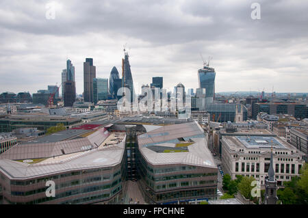Aerial Panoramic View of City of London Skyline Emphasizing Various Famous Tall Buildings - Stock Photo