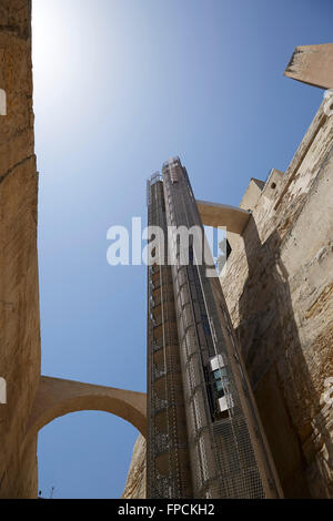 A view of the Barrakka Lift in Valletta, Malta. The sea can be seen in the distance, a sunny day. - Stock Photo