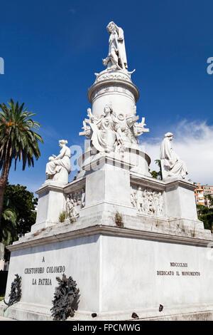 Monument of Christopher Columbus in Piazza Principe, in Genoa. - Stock Photo