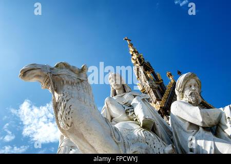 Closeup of stone statues at the Albert Memorial in Kensington Gardens, London, UK - Stock Photo