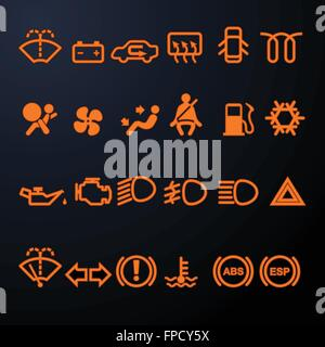 Airbag Warning Light Car Dashboard In Closeup Stock Photo - Car sign on dashboard