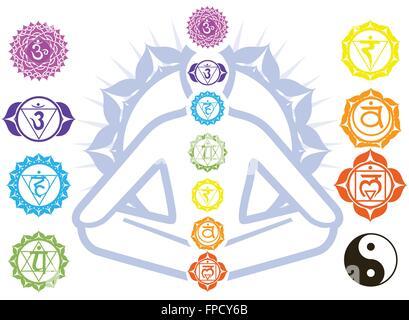Chakras and spirituality symbols on man in lotus pose - Stock Photo