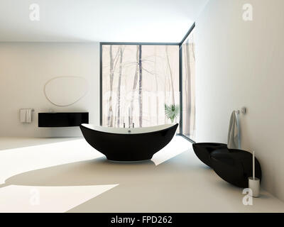 Contemporary black bathroom suite with a boat-shaped freestanding bathtub, wall-mounted vanity, toilet and bidet - Stock Photo