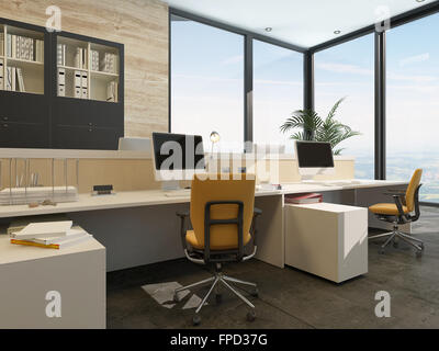 Spacious work environment in a modern office with work stations at a long table overlooked by a large glass window - Stock Photo